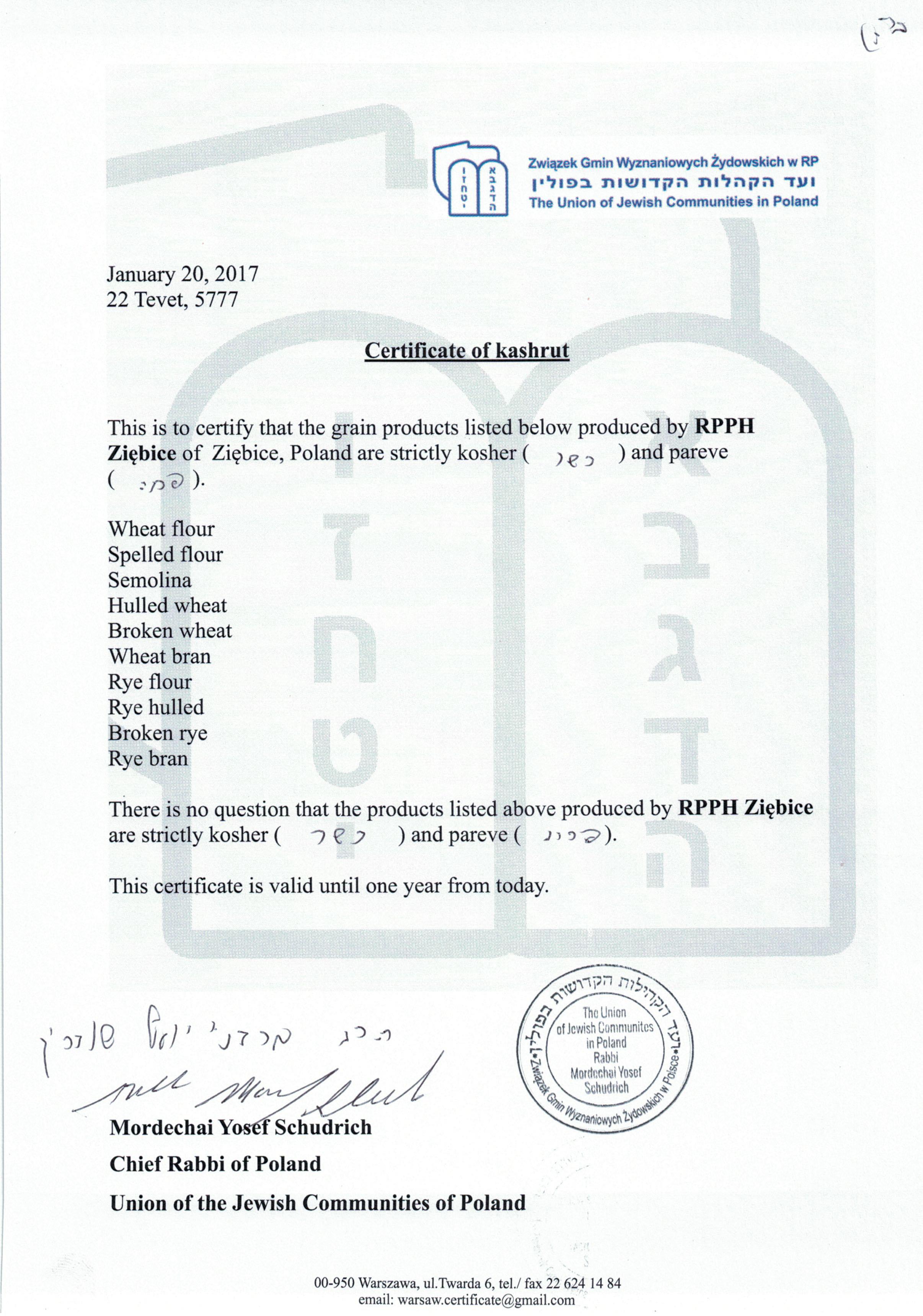 Certyfikat koszerności